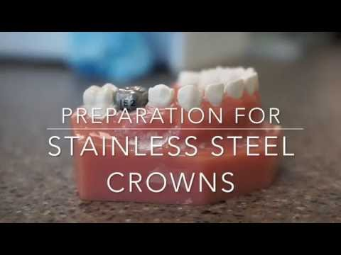 Stainless steel crown prep on a primary molar