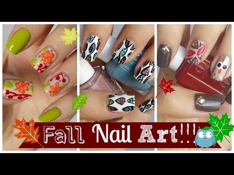 Fall Nail Art!!! Three Easy Tutorials! | MissJenFABULOUS