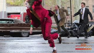 Joaquin Phoenix in Joker Costume Filming Dangerous Scene