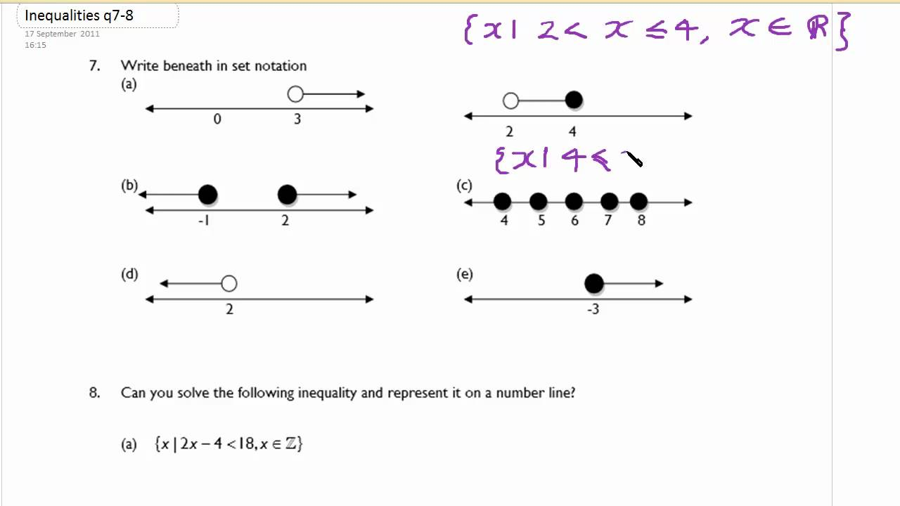 Drawing Using Inequality Number Lines : Inequalities and number line youtube