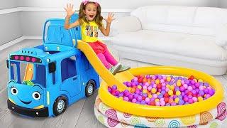 Sasha pretend play with Blue Bus and Princess Inflatable toys
