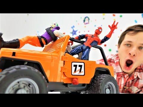 Игры машинки и Человек Паук! Видео про игрушки: джип для супергероя!