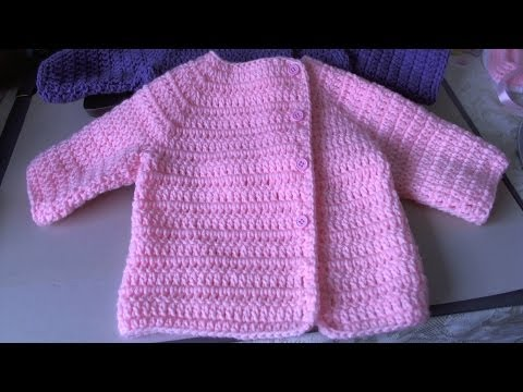 Easy Crochet Baby Sweater - Asian inspired sweater / tambien en Espanol, Suete de bebe