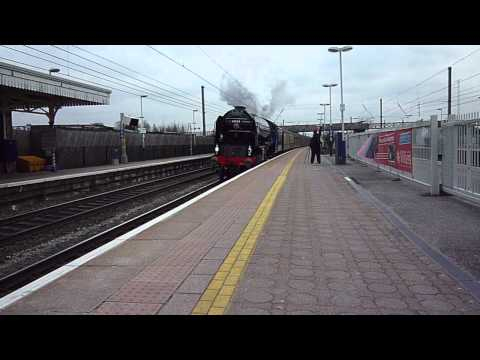 60163 Tornado blows-off past Southall. Down-Cathedral's Express. 21-Mar-2013