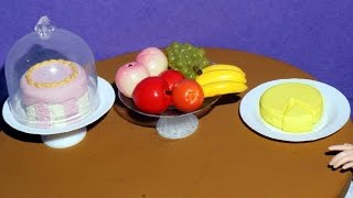 How to make cheese and fruit/cake stand for dolls, barbies and others - miniature crafts DIY