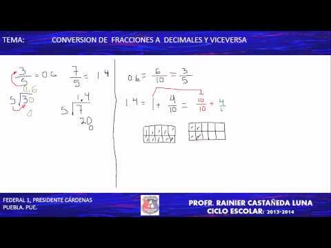 conversión de fracciones a decimales y viceversa