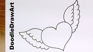 Speed Doodle  A Heart With Wings - Draw it in A Minute - Easy Drawing Lesson