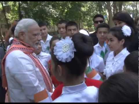 PM Modi interacts with the children in Tashkent, Uzbekistan