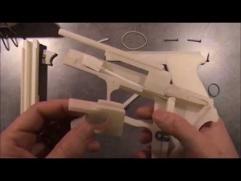 3D Printed rubber band gun with blowback mechanism - SIG SAUER