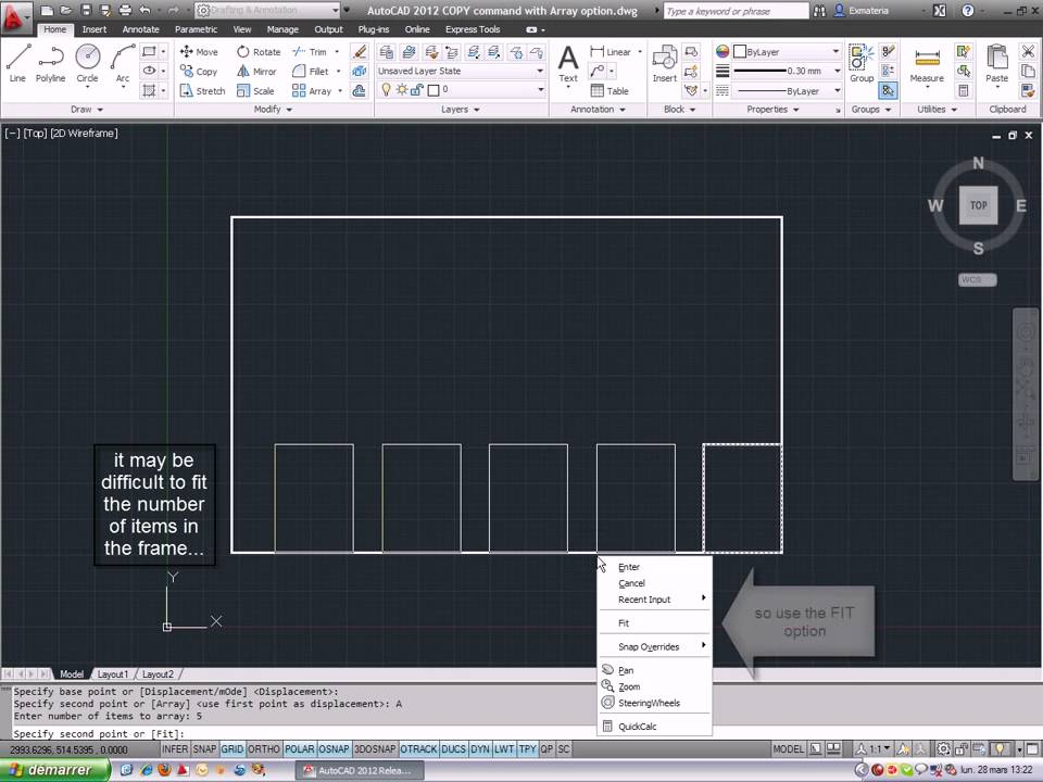 Autocad 2012 copy command with array option youtube for Copy cad