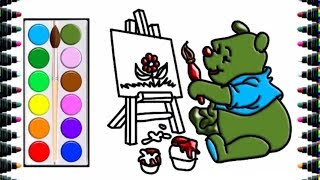 How to draw painting bears for children - draw and color for kids - bé yêu