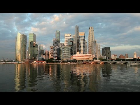 7725367 Singapore Financial District Skyline and Harbour In Natural Light Asia stock footage