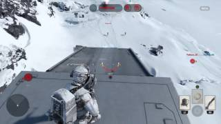 Riding an AT-AT Walker while destroying it