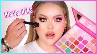 MY FIANCE PICKS HALF MY MAKEUP LOOK!! His VS. Hers | NikkieTutorials