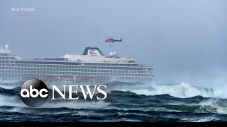 A cruise ship issued a mayday during rough seas off the coast of Norway