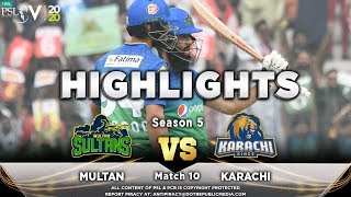 Multan Sultans vs Karachi Kings | Full Match Highlights | Match 10 | 28 Feb | HBL PSL 2020