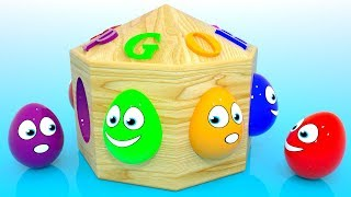 Learn Colors with 3D Wooden Box and Surprise Eggs for Kids Children Toddlers and Babies
