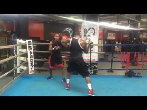 Simeon Panda takes boxing lesson from Pro Boxing Burrell twins