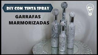 DIY GARRAFAS  MARMORIZADAS COM TINTA SPRAY #LETICIARTES