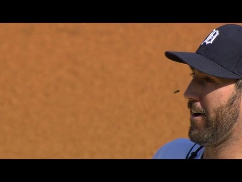 KC@DET: Verlander gets buzzed by a bee in the 1st