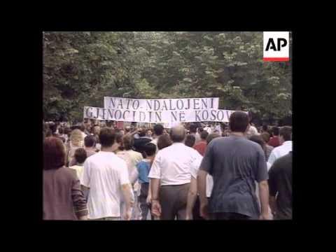 Kosovo - Ethnic Albanians lead protest