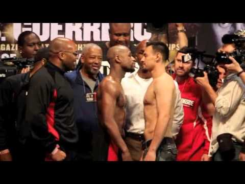 FLOYD MAYWEATHER v ROBERT GUERRERO - OFFICIAL WEIGH IN (UNCUT VERSION)  / MAYDAY / iFILM LONDON