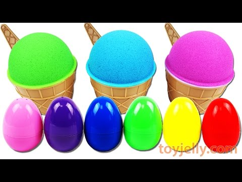 Learn Colors Kinetic Sand Ice Cream Cup Surprise Egg Toys Barbie Disney Tsum Tsum Smurfs Play Doh