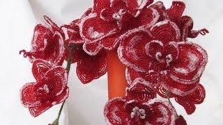 """Букет орхидей из бисера """"Рождественский поцелуй"""" // Orchid beaded """"A Christmas kiss"""""""