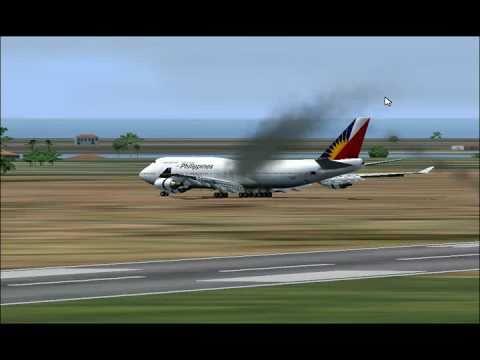 FS 2004 philippine airline crash landing gameplay.