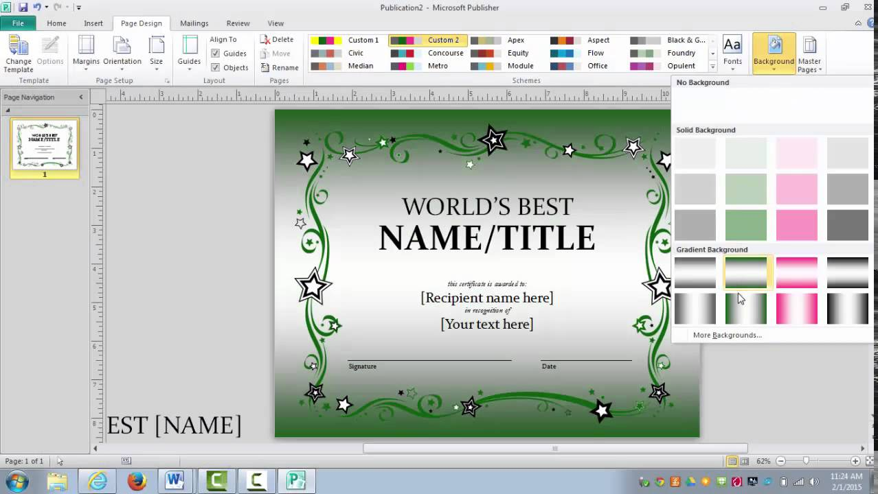 how to make a certificate in word