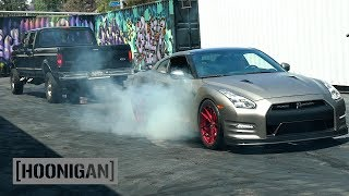 [HOONIGAN] DT 038: 800hp GTR Chained to Pickup Attempts Burnout