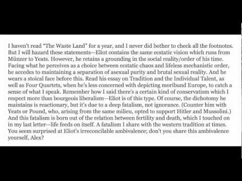 Did Obama Write The Waste Land Literary Analysis In The Letter To Alex Mcnear? video