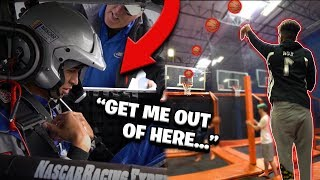 INDOOR Trampoline '4 Goal' Basketball Game! + *Almost Died in a Car*