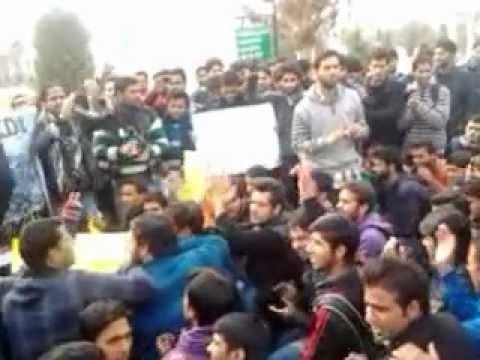 Kashmir University students protest against Israeli aggression in Gaza