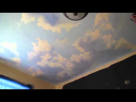 How to paint clouds on ceiling mural joe youtube for Ceiling mural clouds