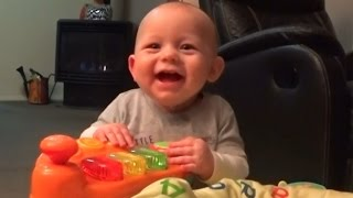 Cute Baby Laughing and falling over, funny baby video