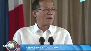 NewsLife: President Aquino signs K-to-12 Law