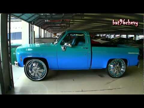 pearl white short bed chevy c10 silverado truck on 28 forgiatos 1080p