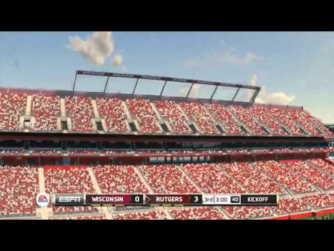 NCAA Football 14 - Wisconsin vs Rutgers (with Commentary)