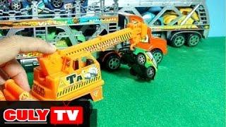 Đồ chơi xe cần cẩu mốc xe ô tô dọn dẹp tai nạn giao thông tắc đường | truck car toy for kids