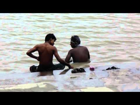 Men Are Bathing In Holly Ganges River video