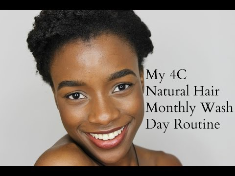 My 4C Natural Hair Full Monthly Wash Day Routine