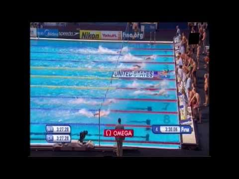 WC Swimming Barcelona 2013 : Final Mens 4x100m Medley Relay Race + Interviews + Podium