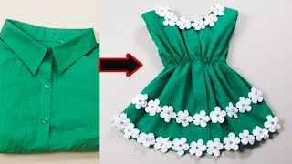 Turn the old shirt into a dress