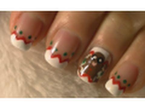 Gingerbread Man Christmas Nail Art Tutorial / Arte para ...