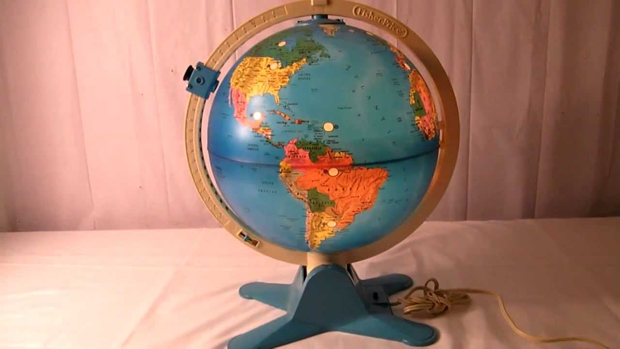 VINTAGE 80'S FISHER PRICE LIGHT UP WORLD GLOBE w VIEW FINDER - YouTube