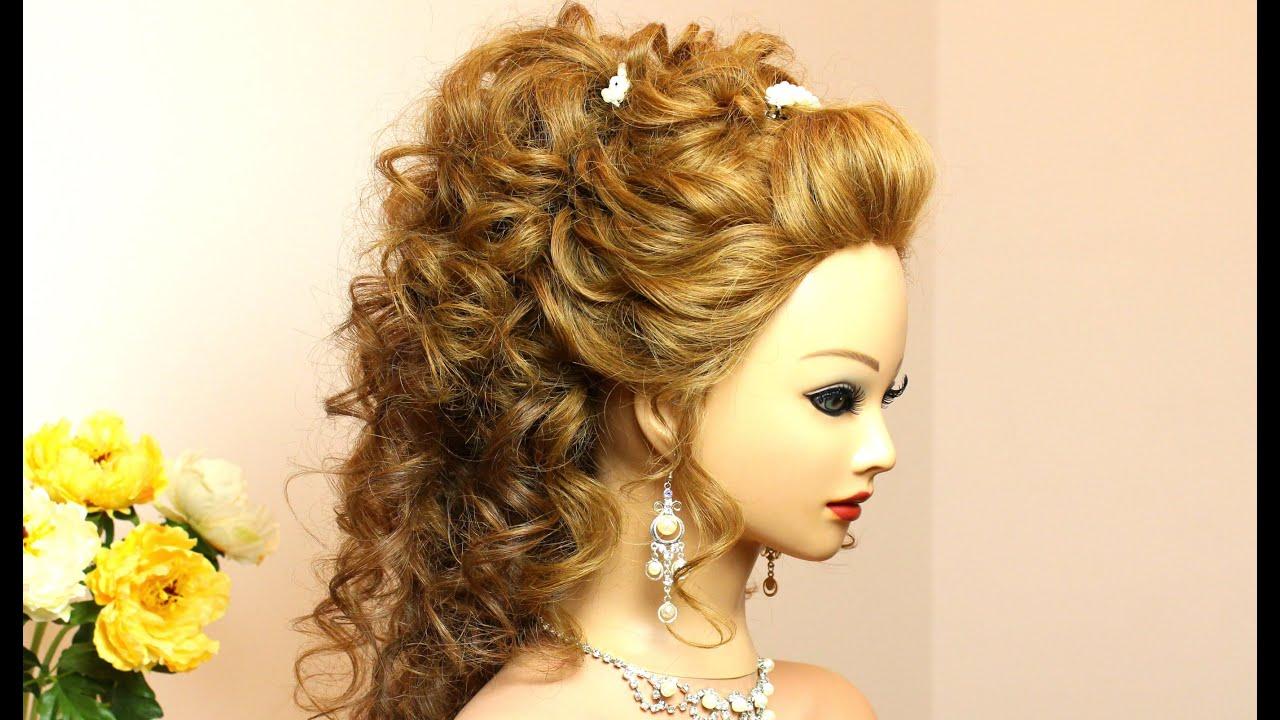 Прически кудри на средние волосы с челкой на бок