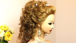 Curly wedding prom hairstyle for long hair tutorial
