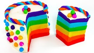 How to Make Play Doh Rainbow Cake Yummy Candy and Play Dough Food