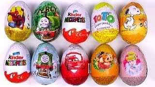 10 Surprise Chocholate Eggs Kinder Surprise Zaini Cars 2 Thomas Spiderman Lion King